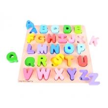 Detská drevená vkladacia abeceda BIGJIGS TOYS