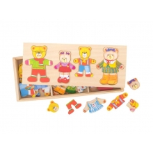 Detské drevené puzzle BIGJIGS TOYS Medvedia rodinka